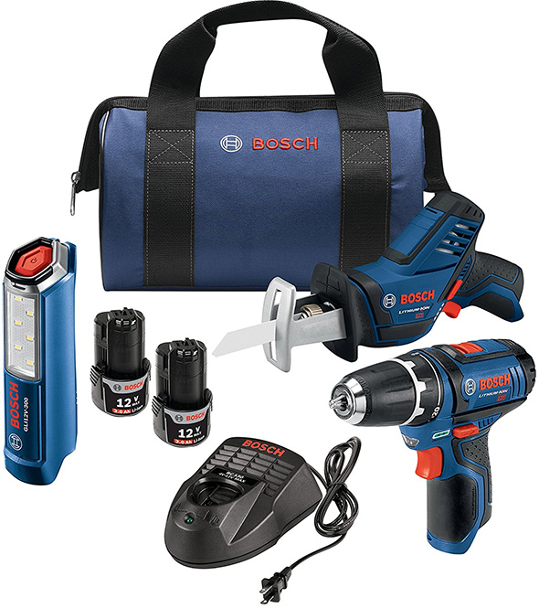 Bosch 12V Max Drill Saw and LED Cordless Tool Kit