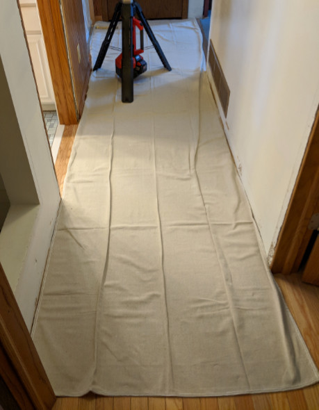 CoverGrip Drop Cloth Covering Hallway