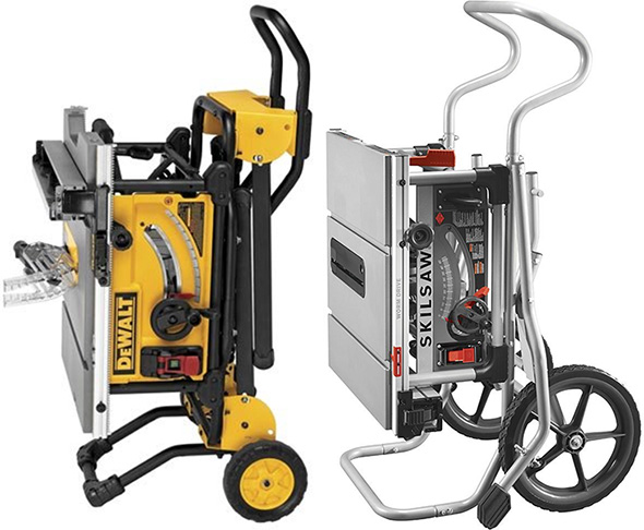 Dewalt vs Skilsaw Rolling Stand Portable Table Saw Folded Size Comparison