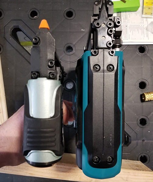 Hitachi Air Pin Nailer Compared to Makita Cordless Pin Nailer from Top