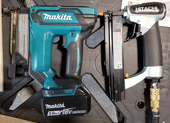 Hitachi Air Pin Nailer Side by Side with Makita Cordless Pin Nailer