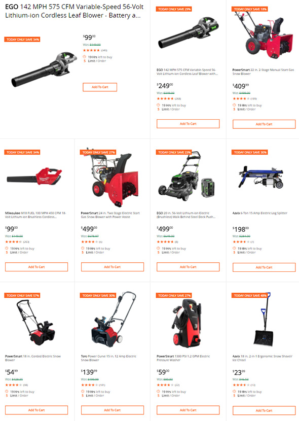 Home Depot Lawn and Garden Deal of the Day Jan 15th 2018