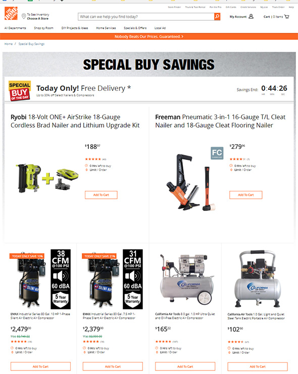 Home Depot Special Buy Timing Discrepancy