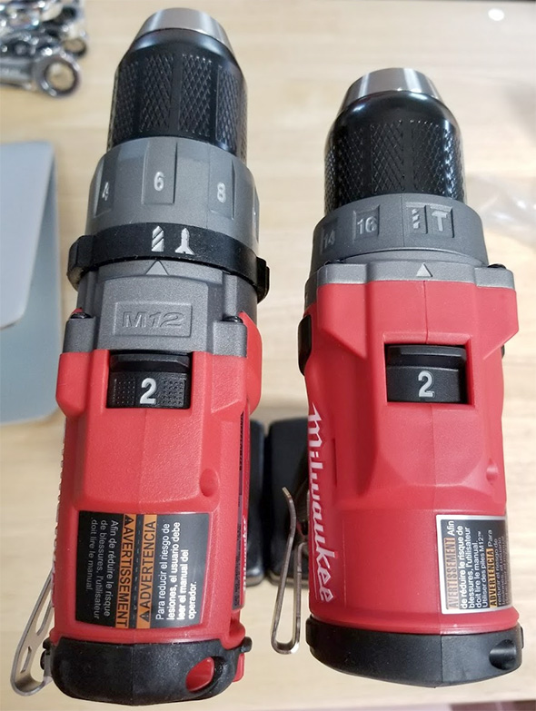 Milwaukee M12 Fuel Hammer Drill Comparison from Top