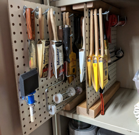 Pullout pegboard storage