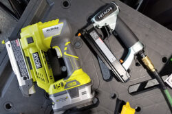 Hitachi Air Pin Nailer Compared to Makita and Ryobi Cordless Pin Nailers