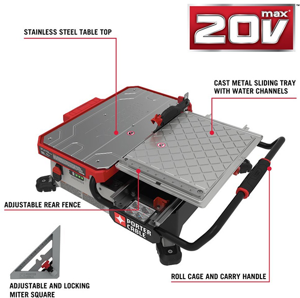 Porter Cable Cordless Tile Saw Features