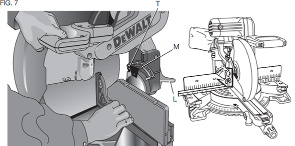 Dewalt and Bosch Miter Saw Bevel Stop Adjustment Diagram