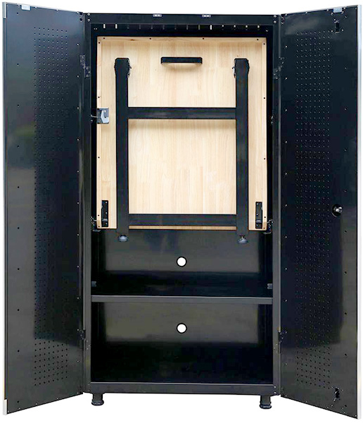 Husky Tool Cabinet with Fold Down Workbench in Storage Position