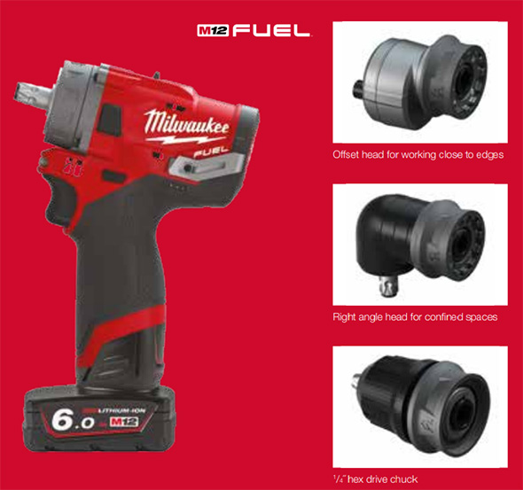 Milwaukee M12 Fuel FPDX sub-compact hammer drill with removable chucks
