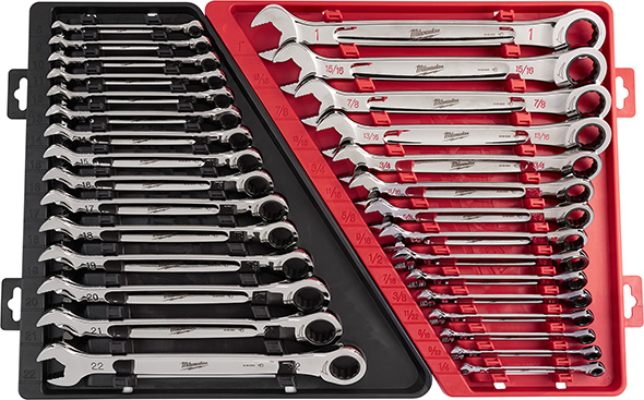 Milwaukee Ratcheting Wrench Set in Trays