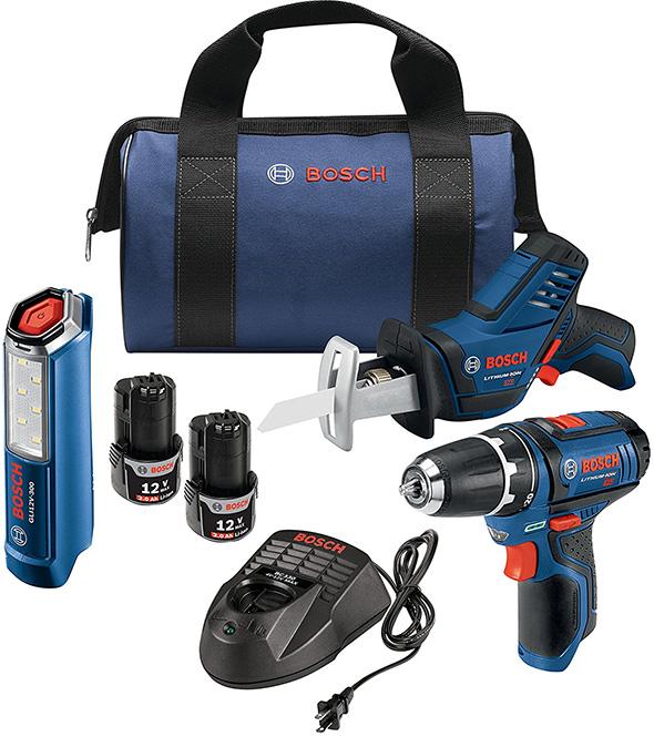 Bosch 12V Drill Saw and LED Flashlight Combo Kit Bundle