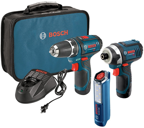 Bosch 12V Drill Impact Driver and LED Flashlight Combo Kit