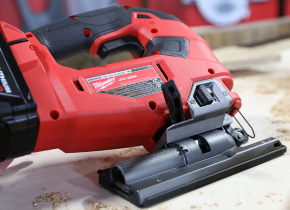 Milwaukee M18 D-Handle Jigsaw with the base tilted