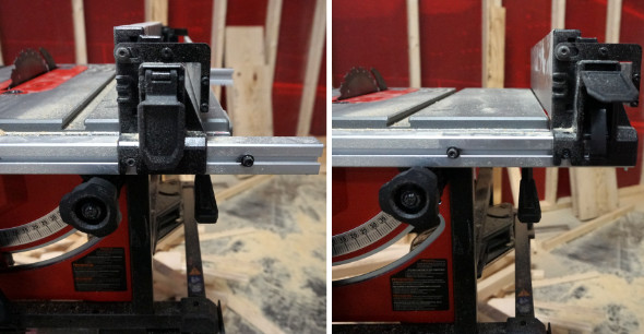 Milwaukee M18 Fuel table saw fence positioning
