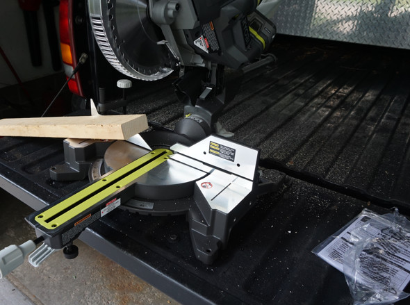Ryobi One+One cordless sliding miter saw dust collection with bag