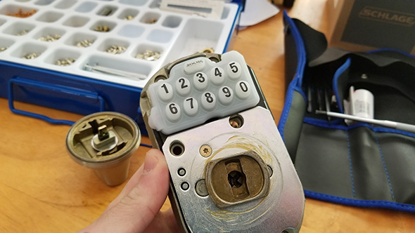 Schlage Keypad Deadbolt Cylinder Removed
