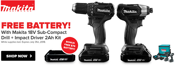 Tool Nut Makita Sub-Compact Brushless Combo Kit Free Battery Promo May 2018