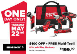 HOT 1-Day Milwaukee Cordless Power Tool Deals (5/22/18)