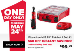 Milwaukee M12 Ratchet Kit and Packout Tool Box for $99 (5/24/2018)