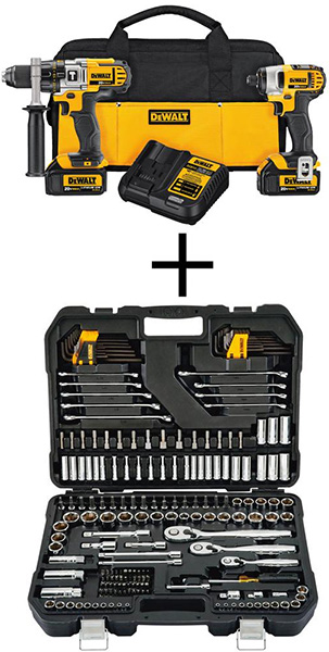 Dewalt Cordless Drill and Impact Driver Combo Kit with Mechanics Tool Set