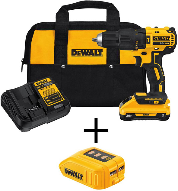 Dewalt Cordless Drill and Power Source Bundle