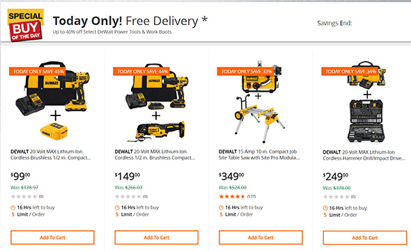 Dewalt Tool Deals of the Day June 7th 2018 at Home Depot