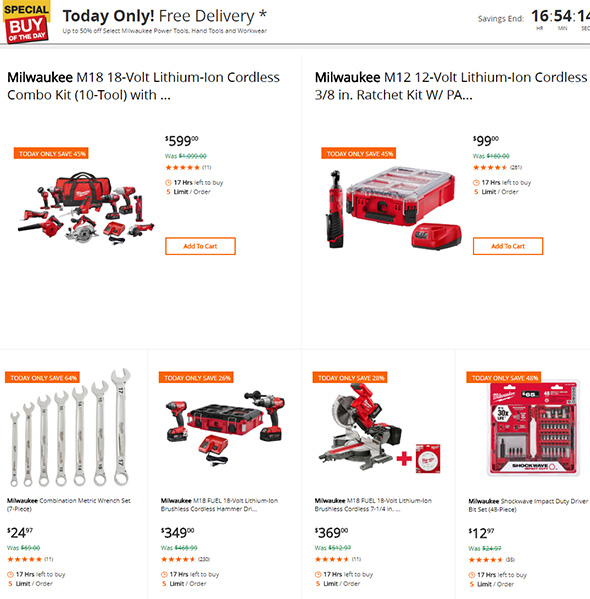 Home Depot June 1st 2018 Milwaukee Tool Deals of the Day
