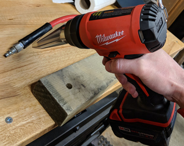 review milwaukee m18 cordless heat gun  milwaukee cordless heat gun warming a rubber strain relief