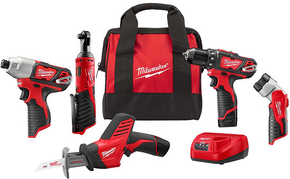 Milwaukee M12 5pc Cordless Power Tool Combo Kit 2498-25