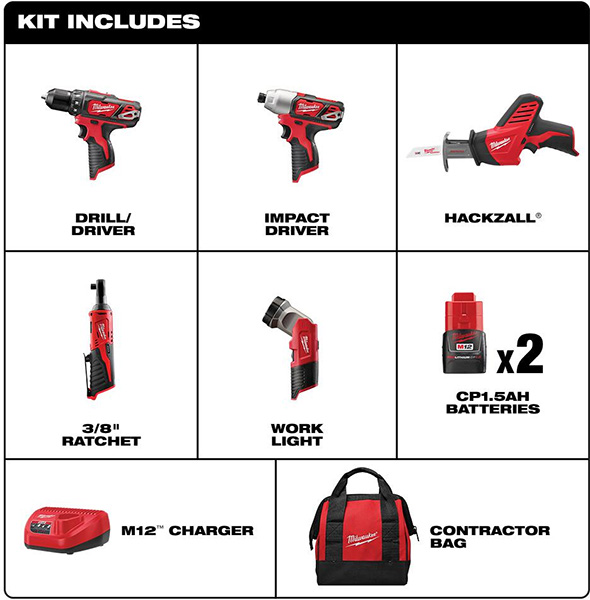 Milwaukee M12 5pc Cordless Power Tool Combo Kit Contents 2498-25