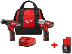 Hot Deal: Milwaukee M12 Cordless Drill and Impact Driver Kit, Plus Bonus Battery, for $99