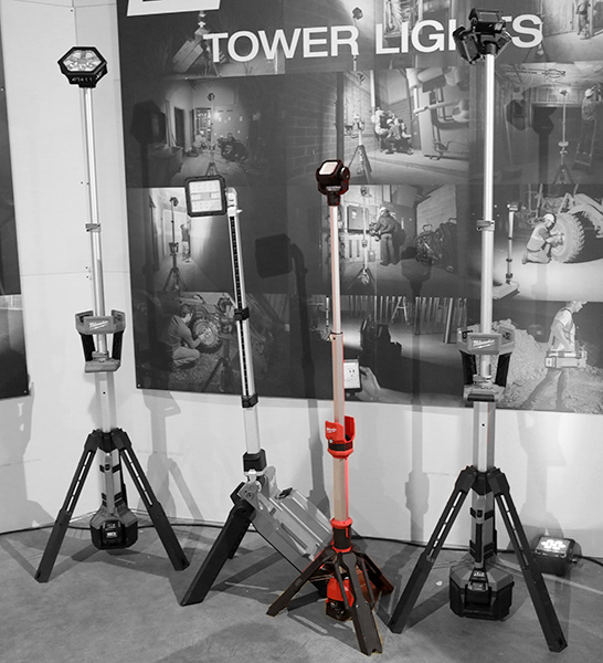 Milwaukee M12 Rocket LED Worklight Compared to M18 Lights in Grayscale