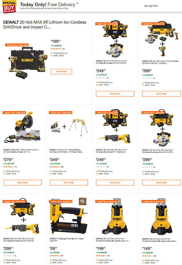 Home Depot Dewalt Tool Deals of the Day July 4th 2018
