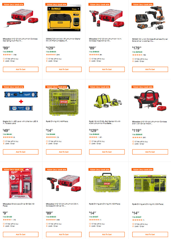 Home Depot Tool Deals of the Day 7-12-2018 Part 2