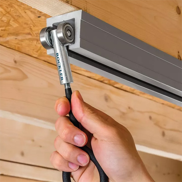 Rockler Ceiling Track System Non-Locking Hook Sliding into Rail
