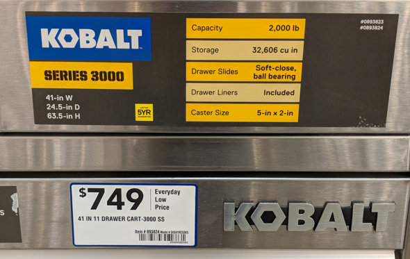 Kobalt Tool Cabinet with Slide-out Pegboard front sticker