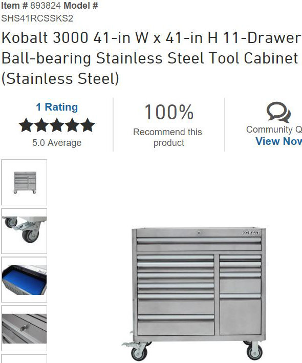 new? kobalt 41″ toolboxes with slide-out pegboard