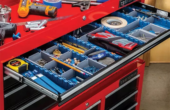 Rockler Lock-Align Drawer Organizer System Loaded with Tools and Parts