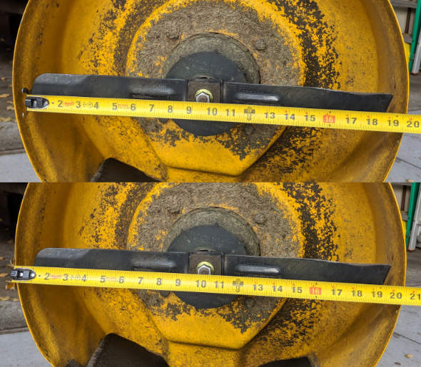 Dewalt 2x20V mower deck and blade measurements