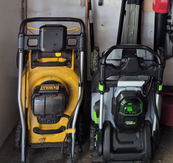 Dewalt 2x20V mower stored next to EGO