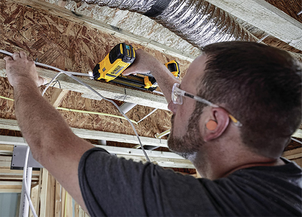 Dewalt Cordless Wiring Stapler DCN701D1 Overhead Application