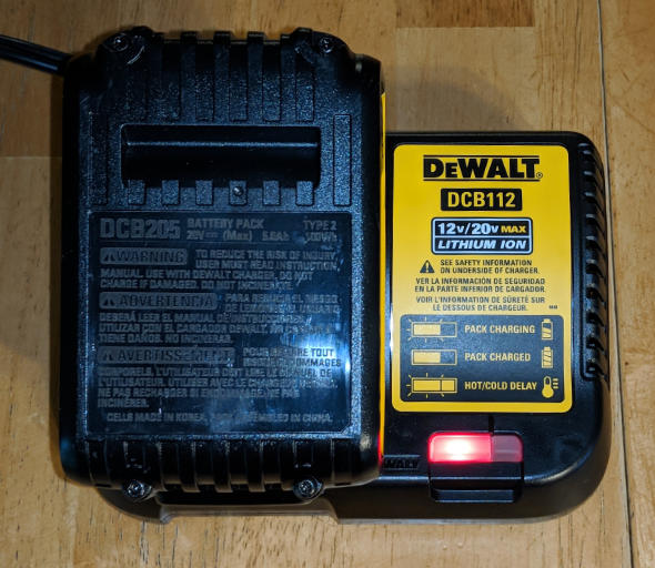 Dewalt DCB112 2 Amp battery charger and 5Ah battery