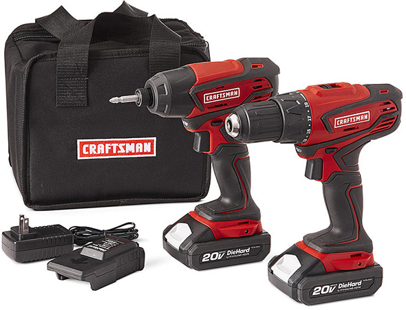 Sears Craftsman 20V Cordless Drill and Impact Driver Combo Kit
