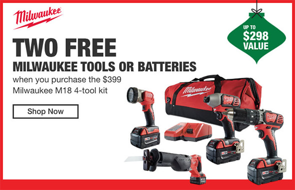 Home Depot Cordless Power Tools Holiday 2018 Tiered Savings Event Milwaukee Promo 2