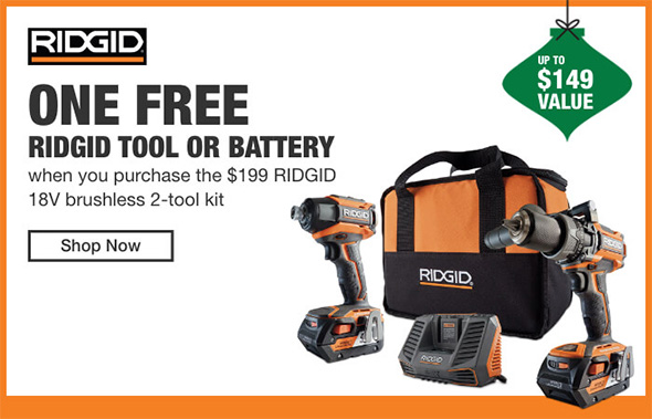 Home Depot Cordless Power Tools Holiday 2018 Tiered Savings Event Ridgid Promo 1