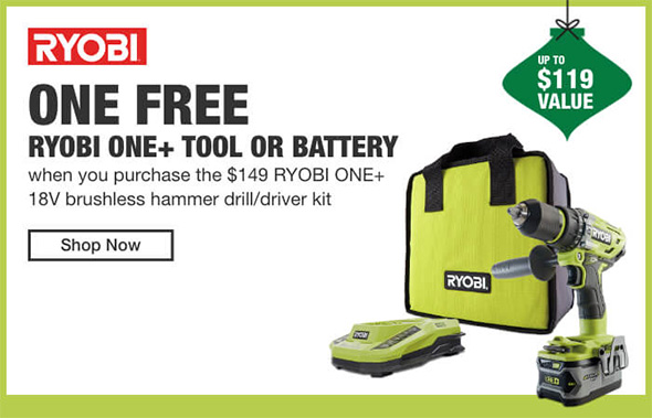 Home Depot Cordless Power Tools Holiday 2018 Tiered Savings Event Ryobi Promo 1