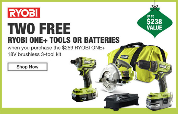 Home Depot Cordless Power Tools Holiday 2018 Tiered Savings Event Ryobi Promo 2