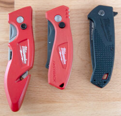 Milwaukee Compact Fastback Utility Knife Compared to Fastback Knife and Hardline Folding Knife