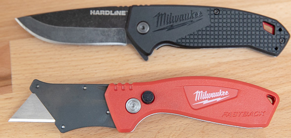 Milwaukee Compact Fastback Utility Knife vs Hardline Pocket Knife